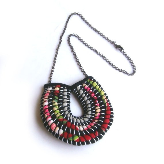 Modern Tropical Chandelier: Modern Art Red Pendant Necklace Tropical Red By FabricTwist
