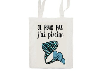 Mermaid Totebag - Cotton Bag - LIMITED EDITION French I can't I have to go swimming
