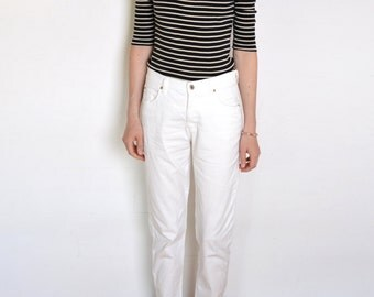 90's Armani white mom pants, high waisted minimalist normcore nautical sailor cotton jeans denim small medium Italian designer summer pants