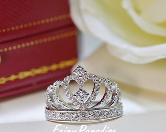 Princess Crown Ring, Accent Tiara Rings, Delicate Ring, Silver Crown Ring, Queen ring, Man Made Diamond, Promise ring , Valentine's Day Gift