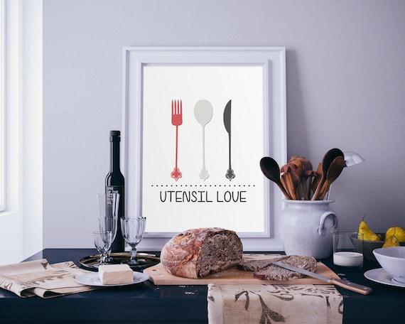 Printable Utensil Love Utensils Kitchen Decor Kitchen Wall Art