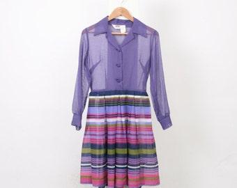 Stripe 70s VINTAGE Womens Au 10 US 6 Long Sleeve Shirt Collar Button Up Mini Skirt Poly Cotton Purple Pink White Green Secretary Dress