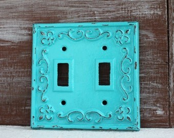 Double Light Switch Cover, Light Switch Plate, Cast Iron Fleur de lis Decor, Metal Switchplate Cover, Lightswitch Cover Aquamarine Blue