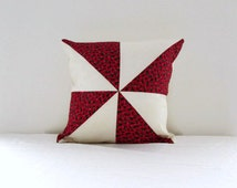 Christmas cushion cover, patchwork Christmas pillow, red seasonal pillow cover, quilted patchwork pillow, handmade in the UK