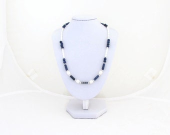 CLEARANCE Lapiz Lazuli and Pearl Necklace, handmade in the UK