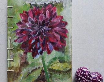 Burgundy dahlia notebook, sketch book, journal with coptic stitch. Original mixed media painting on the cover.