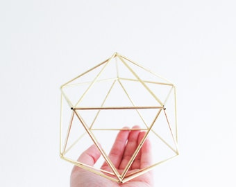 The Orb | Brass, Modern Minimalist Geometric Hanging Ornament, Mobile, Desk Ornament, Centerpiece and Air Plant Holder