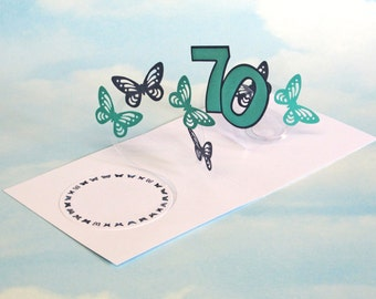 70th Birthday Card Butterfly Spiral Pop Up - Blue and Green Butterfly 3D Card – 70th Birthday Spiral Pop Up Card