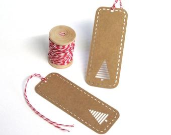 Christmas Gift Tags 10/Pk - Paper Cut Christmas Tree Gift Tags - Holiday Gift Tags - Kraft Card Gift Tags