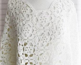 Cream Crochet Poncho