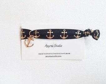 Black Gold Anchor Nautical Hair Tie