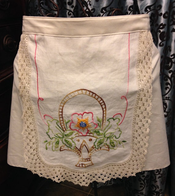 Linen cotton apron upcycled vintage embroidered table runner