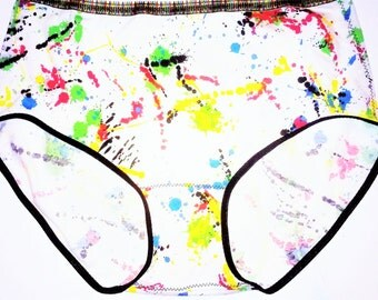 Artsy Fartsy Cotton Granny Panty Underwear- Full Brief Style - Jackson Pollock Paint Splatter Print with Crayon Elastic Border