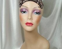 Silver and Smokey Topaz Beaded 1920s Headpiece, Cleopatra Inspired Crown, Nefertiti Crown, Egyptian Crown