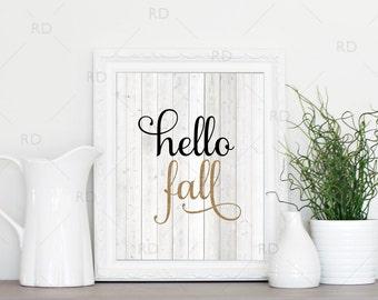 Hello Fall - PRINTABLE Wall Art / Hello Fall Printable / Fall Wall Art / Autumn Wall Art / Rustic Wooden Background / 2 for price of 1 Print
