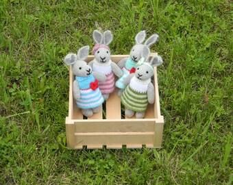 Baby girl gift  for her rabbit bunnies 4Pc kids birthday gift for girl stuffed animals plush toy woodland girlfriend gift baby shower favors