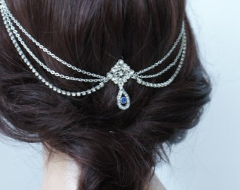 Wedding Headpiece with crystals and 'something blue' - Bohemian Wedding Headpiece -Bridal Hair Accessory -Downton abbey 1920s Headpiece