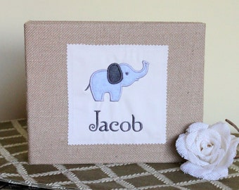 Personalized Baby Album / Scrapbook / Binder with Elephant Design - Baby Shower, New Baby, New Mother, New Father, New Parent's, Gift