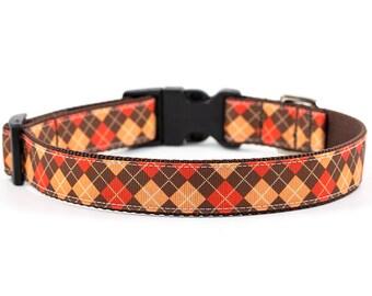 Fall Dog Collar // Size L // Adjustable Length // Pattern: Autumn Argyle