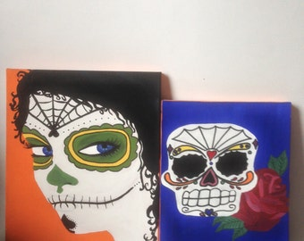 Acrylic on Canvas Day Of The Dead Set