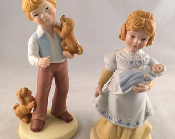"Avon ""Best Friends"" and ""A Mother's Love"" Porcelain Figurines, 1981"