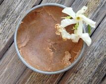 cocoa + sandalwood bronzer, cream foundation. organic + handmade. sandalwood, arrowroot + cocoa powders, raw shea butter. plant makeup.