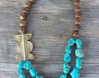 Bridesmaids Necklace, Turquoise Necklace, Navajo Turquoise Necklace, Turquoise Statement Necklace, Bohemian Necklace