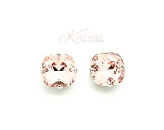 VINTAGE ROSE 12mm Cushion Cut Stud Earrings Swarovski Crystals *Pick Your Finish *Karnas Design Studio *Free Shipping