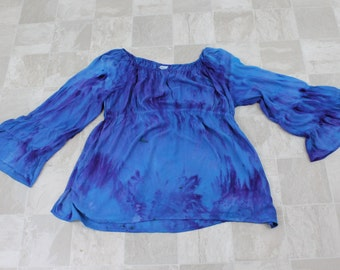 Tiered Sleeve Peasant Top, Hand dyed size 2XL peasant tunic top, Womans tie dye hippie top, blue and purple tie dye top