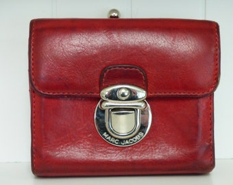 Vintage Marc Jacobs Wallet - Red Leather Wallet - Silver Metal Snap Front - Damaged Kiss Lock Does Not Close - Debit Cards - Currency - Chic