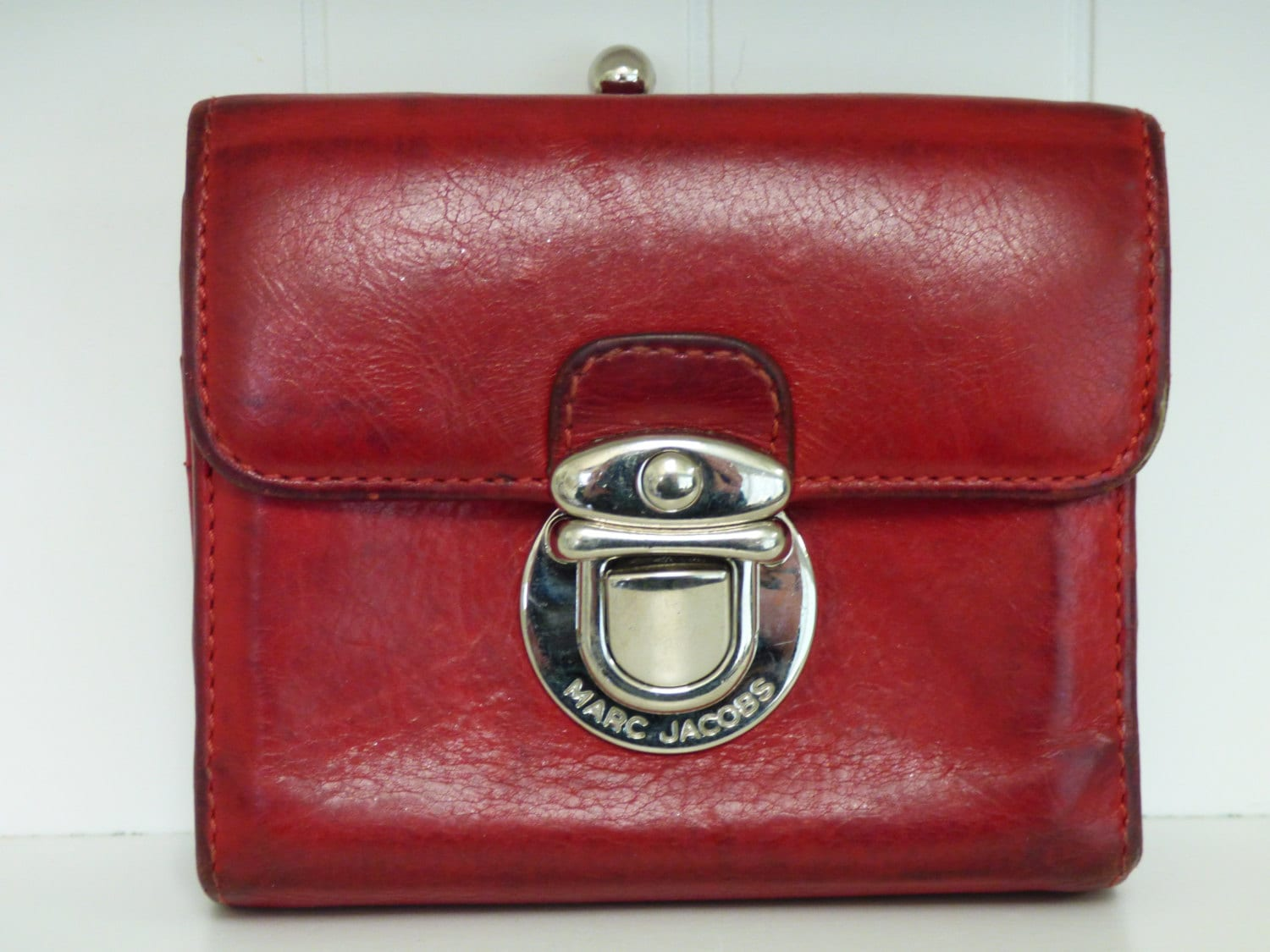 Vintage Marc Jacobs Wallet Red Leather Wallet Silver Metal