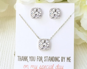 Bridesmaid Silver Necklace Earring Set Personalized Bridal Party Gifts for Her Silver Jewelry Necklace and Earring Set Gift from Bride N521S
