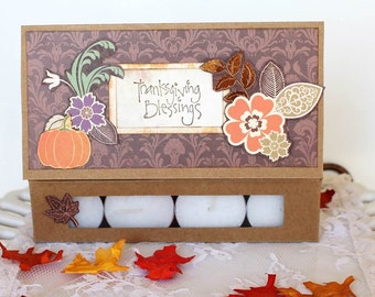 Handmade Thanksgiving card, paper handmade card, Tea light candle card for friend Thanksgiving Blessings