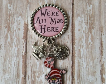 Retractable Badge Holder - We're All Mad Here  - Cheshire Cat, Teapot and Clock Charms (see pics) - Low Flat Rate Shipping in US!