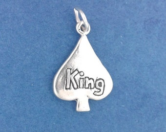 KING Of SPADES Charm, Playing Card Suit .925 Sterling Silver Charm