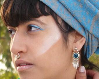 Silver earrings, Sterling Silver Raindrop Earrings, abalone, boho chic earrings, silver raindrop abalone earring, gemstone raindrop Earrings