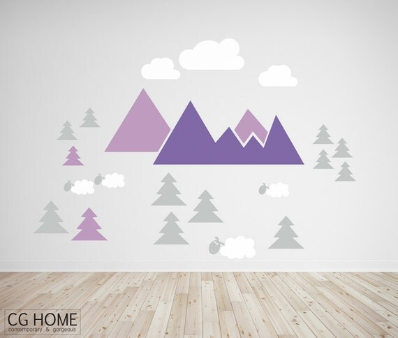 MOUNTAIN view for kids huge colorful wall decal LAVENDER stickers NURSERY mountain pattern headboard customized CGhome