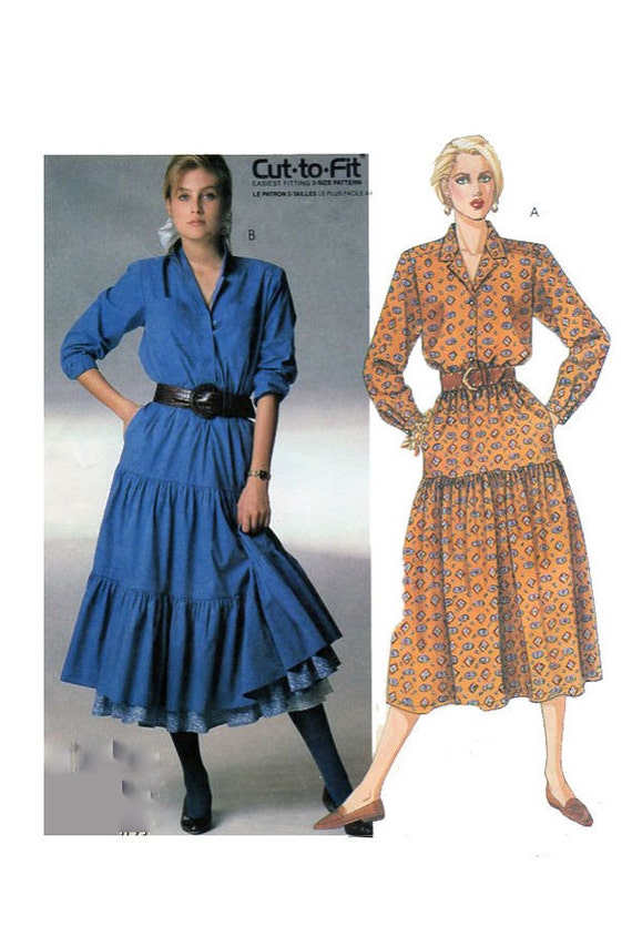 country western style dress mccalls 3257 button front gathered