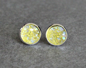 Yellow Stud Earrings, Yellow Earrings, Yellow Druzy Earring Studs, Yellow Post Earrings, Yellow Studs, Yellow Bridesmaid Earrings