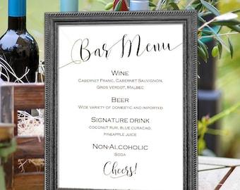 Wedding bar menu sign, Printable, bar menu, template, instant download, sign for wedding, S2