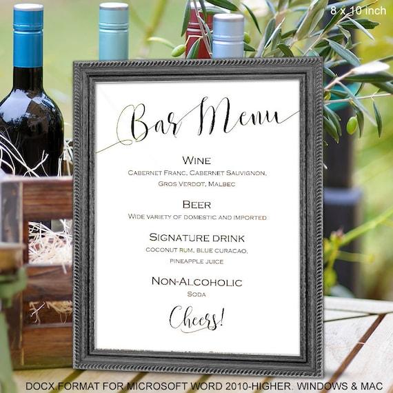 wedding bar menu sign printable bar menu template instant