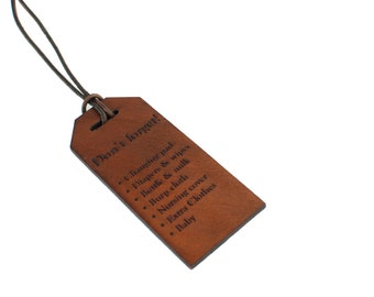 Leather Diaper Bag Tag, Diaper Bag Organizer, Engraved Bag Tag, New Baby Gift for Parents, Engraved Newborn Gift, Leather Bag Organizer