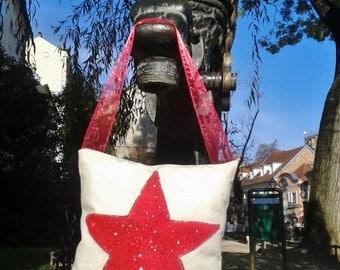 Door hanger pillow, Red Star decoration pillow, hand painted small pillow, Organic raw cotton canvas, Unique decorative Chrismas pillow