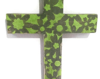 Wooden Wall Cross Floral