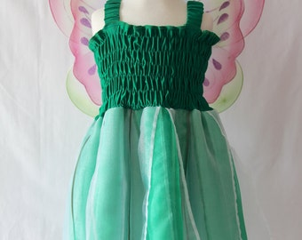Green Fairy Dress, Woodland Fairy Dress, Girls Fairy Dress, Tinkerbell Costume, Party Dress, Birthday Dress, Princess Dress, Girl's Dress