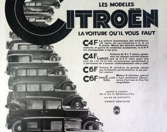 CITROEN automobiles ad, vintage advertising, illustration print, vintage car poster, French magazine L'Illustration 1931, collectible piece