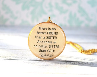 sister necklace , quote pendant , gift for sister , wooden pendant