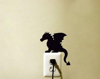 Dragon Velvet Sticker - Cute Dragon Wall Art - Baby Dragon Wall Decal - Fantasy Wall Art - Fabric Laptop Sticker
