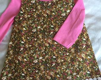 Baby pinafore, size 1 pinafore, baby winter clothing, floral pinafore