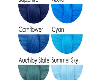 Merino Wool Tops - blues - 36 colours for felting and spinning